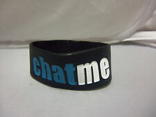 """1"""" Wide """"Chat Me"""" Black, White & Blue Rubber Wristband"""