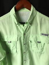 Columbia PFG Men's Green Omni-Shade Long Sleeve Outdoors Fishing Shirt Medium