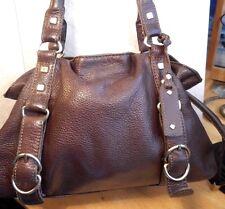 Kenneth Cole Reaction Brown Real Leather  Handbag Shoulder Bag Purse Drawstring