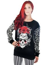 Too Fast Carrie Skull Rose Sweatshirt Frida Skull New With Tags Small HALLOWEEN