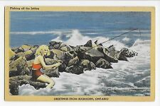 Vintage Postcard Buckhorn Ontario Fishing off the Jetties Linen