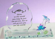 Mom Plaque Hummingbird Flower Glass To The World One Person You Are The New NIB
