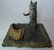 Antique Austrian Bergman Cold Painted Bronze Cat Figurine A596117