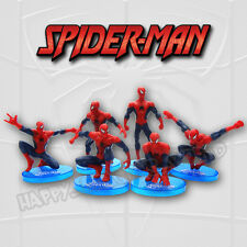 6Pcs Spiderman Action Figure Peter Parker Superhero Spider man toy w/ Stand Base