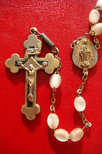 OUR LADY OF GRACE  OLD VINTAGE GLASS BEADS AND SILVERED BRONZE CROSS ROSARY