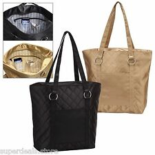 Shiny Satin Quilted fashion Tote Bag with stripe designer lining - AP2657-BLACK