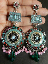 Indian 3.5'' Antique Silver Gold Plated CZ 6 Variations Dangler Kundan Earrings