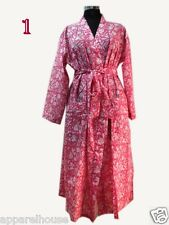 Indian Cotton Block Printed Kimono Women Bathrobe Sexy Boho Sleepwear Nightgown