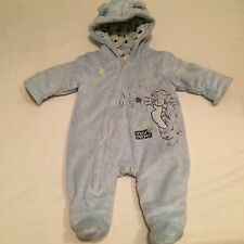 DISNEY blue fluffy Tigger hooded pramsuit / snowsuit  Baby boys clothes Newborn
