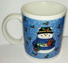Set of 4 Lindsey Jordan Designs 11 oz Cup Mugs Holiday Home Snowman Sweater Blue