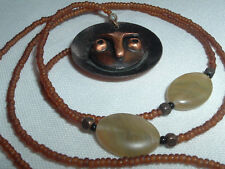 VINTAGE BROWN GLASS SEED BEAD COPPER OWL FACE PENDANT NECKLACE IN GIFT BOX