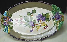 "Tracy Porter ""Claret"" 14-1/2'' Oval Serving Platter - Grapes, Dragonfly [S6287]"