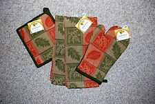 SET 4 LEAF PRINT/THANKSGIVING KITCHEN DISH TOWELS/MITT/POTHOLDER/COTTON/ NWT