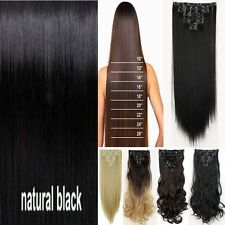 US Real Natural Full Head Clip In Hair Extensions Long CURLY WAVY STRAIGHT HAIR