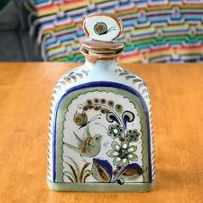 Vintage El Palomar Mexican Tonala Art Pottery Bottle Decanter Blue Green Signed
