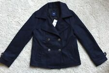 THE GAP Women's Size XS Navy Blue Pea Coat Jacket Wool Blend Free Shipping NWT