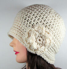 Handmade Womens Crochet Cloche Hat Flapper Beanie Flower IVORY One Size Acrylic