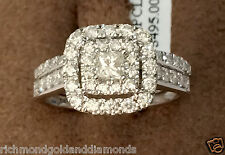 14k White Gold Princess Round Cut Double Halo Set Diamonds Bridal Wedding Ring
