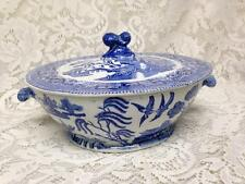 Antique, Rare, Ridgway England, Blue Willow Covered Bowl-Soup Tureen 10inWx5in H