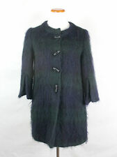 Agnes B Mohair Green & Blue Plaid Short Coat 3/4 Sleeves Size 38 FR / US M
