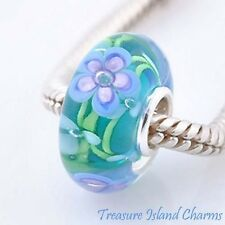 FORGET-ME-NOT PURPLE FLOWER MURANO GLASS 925 Sterling Silver EUROPEAN Bead Charm