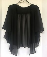 Womens BLACK Plus Size 3X Chiffon Cardigan Bolero Shrug Top