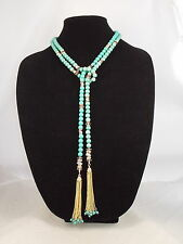Macy's I.N.C. International Concepts Goldtone Turquoise Beaded Tassel Y Necklace