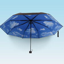 Anti-uv Sun Protection Umbrella Blue Sky 3 Folding Gift Parasols Rain Umbrellas