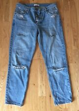 Brand New River island Blue Ripped Boyfriend Jeans Size 8