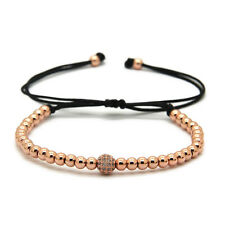 4mm Rose Gold Bracelet with 6mm Cubic Zirconia Stone Bead Top Quality AAA Grade