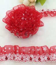 New 5 yards 2-Layer 30mm Width Red organza Lace Gathered  Pleated Sequined Trim