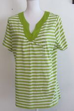 Lane Bryant womens Relaxed Fit New Green + white Striped V-neck top 14 16w S/s