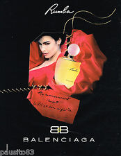 PUBLICITE ADVERTISING 065  1992  BALENCIAGA  parfum femme RUMBA