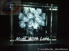 LASER CRYSTAL PAPERWEIGHT MUM WITH LOVE ROSES BOUQUET 3592 PRESENTATION BOXED