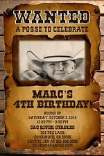 WANTED Posse Custom Designed Birthday Party Invitation Add Photo Western