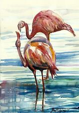 Bild Aquarell Original 21x14,8 cm Flamingo bird Vogel Natur Fauna See rose blau