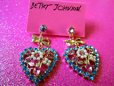 Betsey Johnson Floral Heart Dangle Earrings