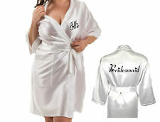 Personalised Wedding Robe Dressing Gown Silky Bride Bridesmaid Mother Groom NEW