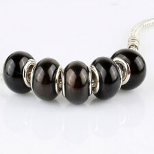 5pcs Jelly Black MURANO bead LAMPWORK fit European Charm Bracelet