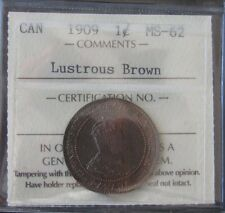 1909 CANADA LARGE CENTS KING GEORGE VII  ICCS MS-62