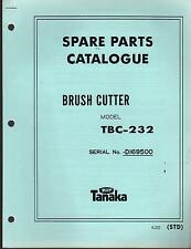1988 & EARLIER TANAKA BRUSH CUTTER MODEL TBC-232 PARTS MANUAL
