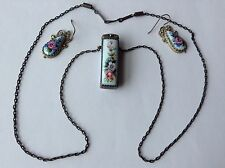 VINTAGE ART DECO GERMAN SILVER PORCELAIN FRANGRANCE BOX NECKLACE AND EARRINGS