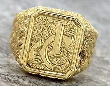 Men's Vintage 1940s Solid 18K 750 Yellow Gold Nameplate 'JC' Textured Ring