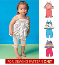 SEWING PATTERN! MAKE BABY GIRL TOPS~LEGGINGS! 4 STYLES SUMMER CLOTHES! 5 SIZES!