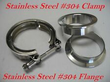 "3.5"" Inch Turbo Exhaust Down Pipe Stainless Steel #304 V-Band Clamp with 2Flange"
