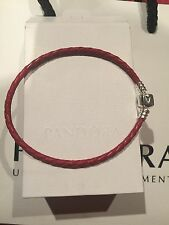 PANDORA RED LEATHER BRACELET 20 Cm SIZE L brand new