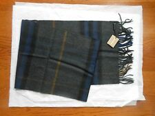 New Auth $450 Burberry Giant Check Cashmere Scarf Muffler, Charcoal/Dark Indigo
