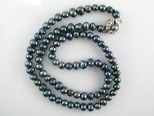 Collier choker 46 cm perles de culture  teintées noires Ø 5,5/6 mm