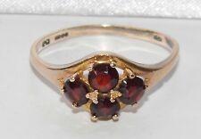 Vintage 9ct Gelbgold Natürlich Granat Cluster Ring - Größe R