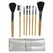 Professional 8 Piece Eye Face Make Up Brush Set With Silver Leather Travel Case